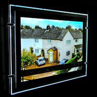 (1Units/Lot) A4 Single Sided Cable Hanging Led Window Poster Display for Real Estate,Property Agents