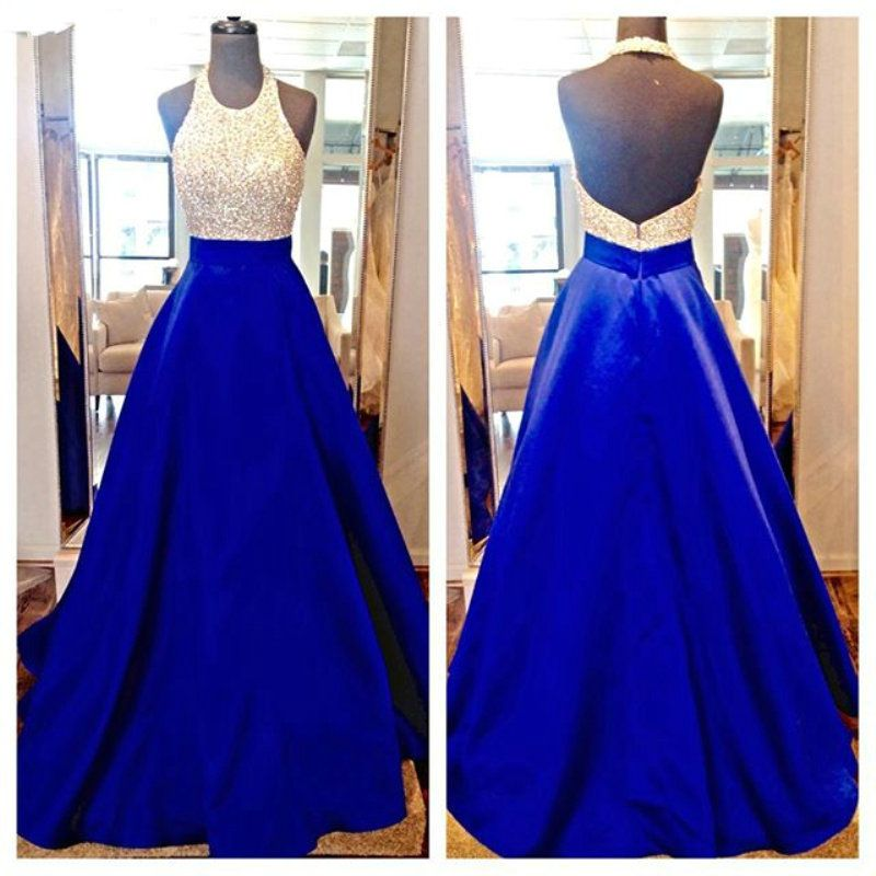 2016 Backless Long Prom Dresses Halter Neckline Beaded Royal Blue Satin Prom  Gowns Sparkly Formal Evening Dress 2016-in Prom Dresses from Weddings    Events ... eebd49b73