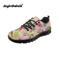 doginthehole Women Shoes Cute Golden Retriever Dog Printing Flat Shoes Ladies Lightweight Mesh Flats for Teenagers Sneakers
