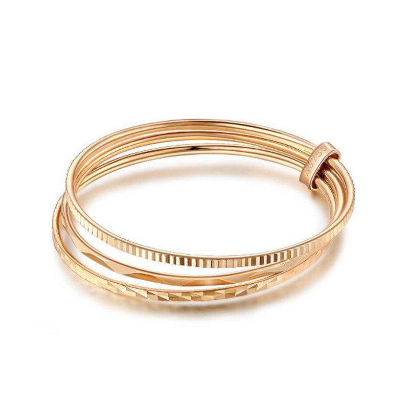 New Women Real Ring AU750 Finger Ring With 3 Layers Trendy Style Jewelry for Girls Party Christmas Valentine Fine Jewelry Gift trendy christmas style elk shape cuff ring for women