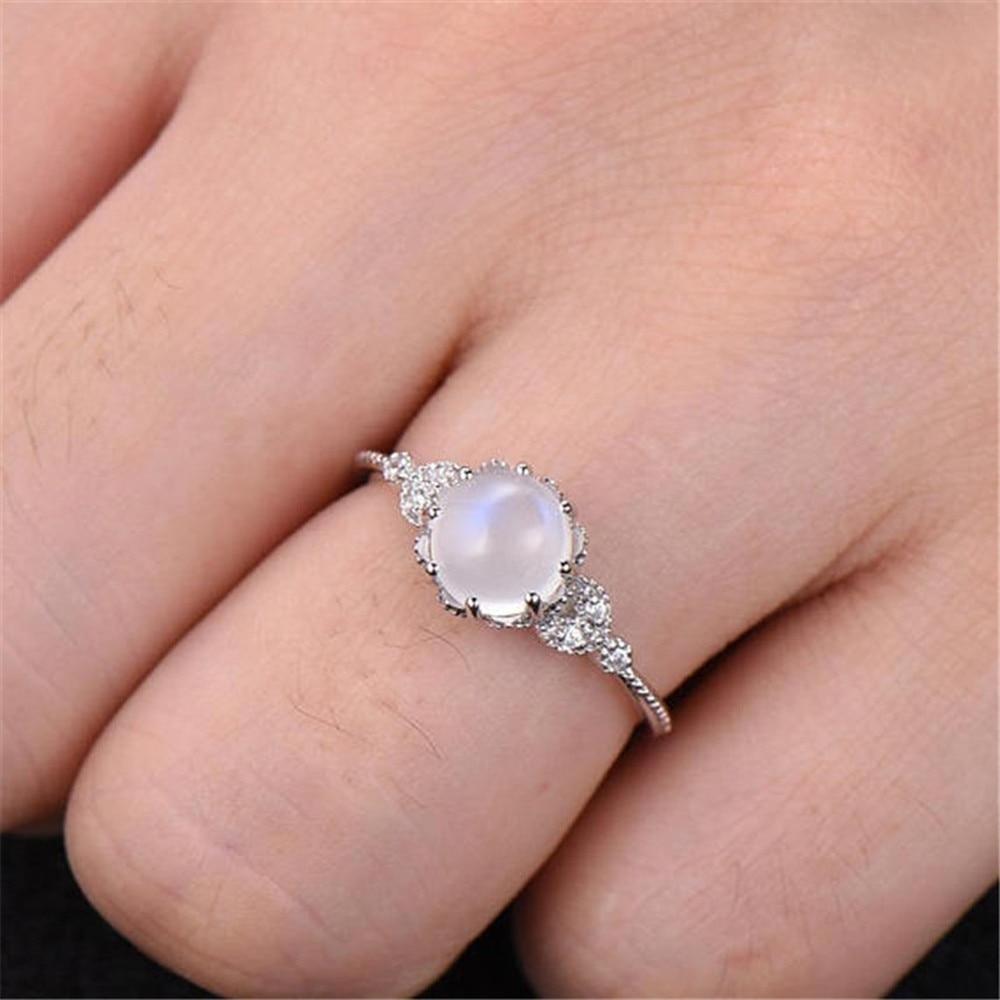Anillo de moda de alta calidad, nueva marca de alta calidad, piedra lunar, anillo de plata incrustada, elegante anillo de compromiso, Joyería Al por mayor #25