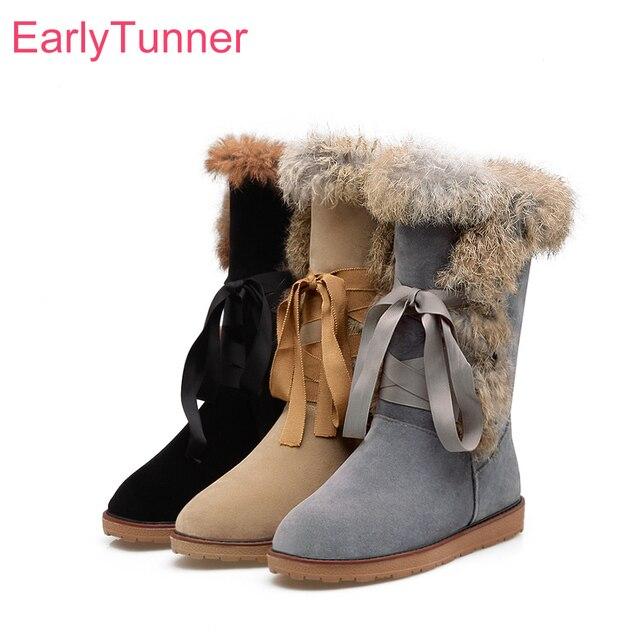 € 23.09 41% de DESCUENTO|Nuevas botas de nieve de invierno de encaje para mujer peludas negro amarillo dulce punta redonda señora zapatos de tacones