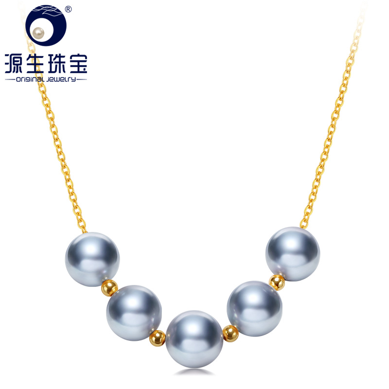 YS 18 k 純金海水養殖 8 9 ミリメートルアコヤ Hanadama 真珠のネックレスネックレス   -