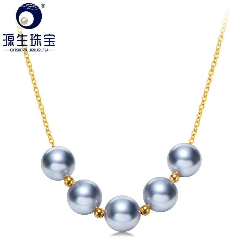 YS 18k Solid Gold Saltwater Cultured 8-9mm Akoya Hanadama Pearl Necklace
