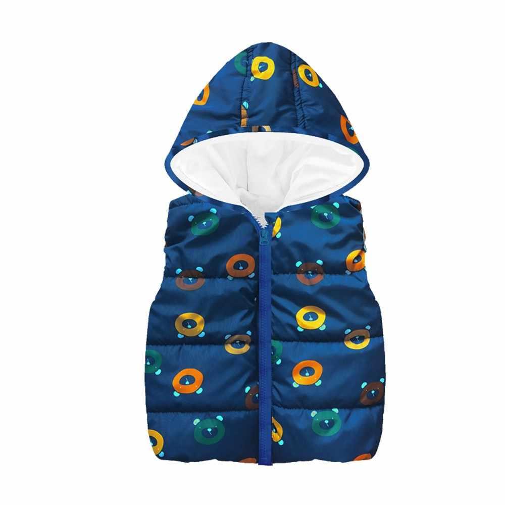 Chaqueta de las muchachas del bebé 2018 chaqueta del invierno del otoño para las muchachas de los muchachos sin mangas de la impresión de la estrella con capucha caliente chaleco tapas dropshipping