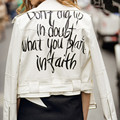 Harajuku Graffiti Letter print PU Faux Leather Jacket Women Bandageg Hem Zipper Short White Coat Outerwear Tops