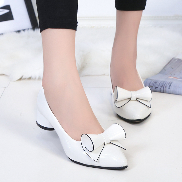 Plus Size 34-43 Women Shoes Red Bowtie Pumps Low Heels Pointed Toe Boat Shoes Woman Leather Patent White Wedding Shoes