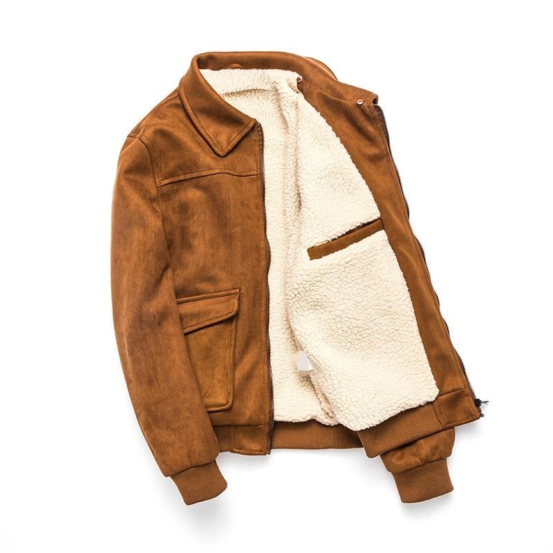 2019 New Winter Mens Fleece Coats Fashion Solid Detachable Collar Faux Suede Outerwear Male Slim Fit Pocket Zipper Coat M 3XL - 3