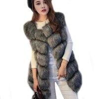 2018 Winter Thick Warm Women Long Fur Vest Luxury Artificial Fur Coat Faux Fox Fur Vest For Women Women's Fake Fur Vest LJLS002