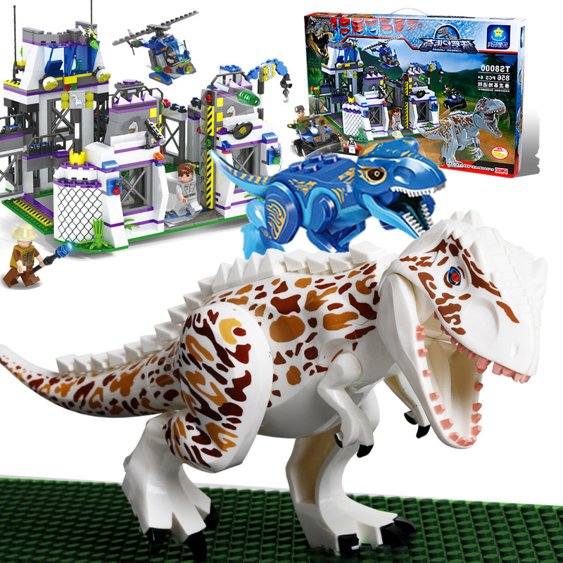 848pcs Legoings Jurassic World Dinosaur Raptor Escape Dinosaur Model Building Blocks Action Boy Toys Birthday Festival Present wiben jurassic pterosauria dinosaur toys action
