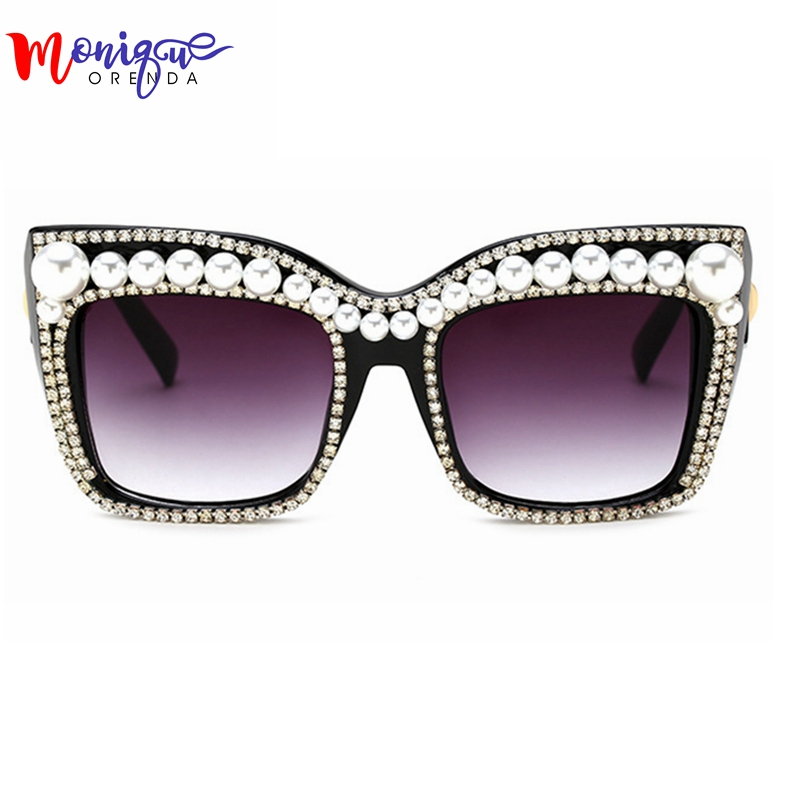 2017 Brand Designer Sunglasses Women Oversize Sunglasses Men Bling Rhinestone with Pearl Vintage Shades Ladies