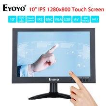 Eyoyo 10″IPS LED Full 1280×800 Touch Screen Monitor With BNC VGA AV HD Video Input 350cd/m2 Black For PC Laptop DVR DVD CCTV