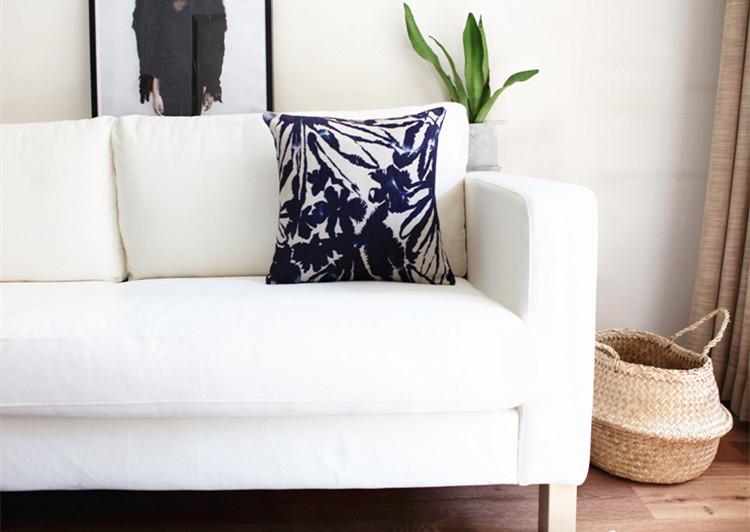 Free Shipping Elegant Ink Wash Painting Blue Leaf Abstract Geometric  Pattern Linen Cushion Cover Home Decor Throw Pillow Case In Cushion Cover  From Home ...
