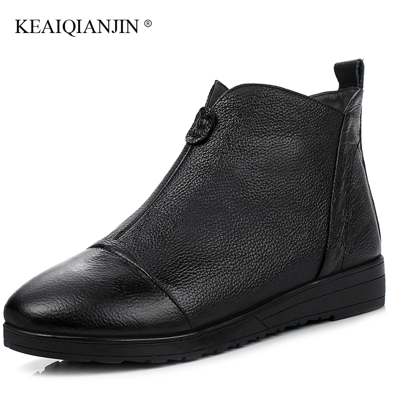 KEAIQIANJIN Woman White Platform Ankle Boots Autumn Winter Genuine Leather Martins Bota Black Golden Oxford Chelsea Boots 2017