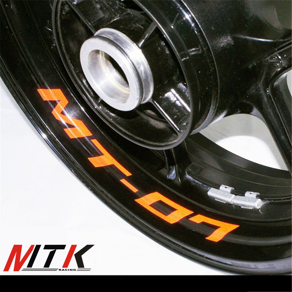MTKRACING Seven colors 8X CUSTOM INNER RIM DECALS WHEEL Reflective STICKERS STRIPES FIT YAMAHA MT-07 MT 07