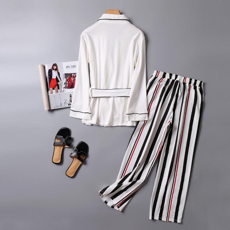 V-NeckWomen Cotton Sleepwear Bow Pyjamas Women Stripe Female Suit Fashion Women Pajamas Autumn Long Sleeve Home Wear Comfortable