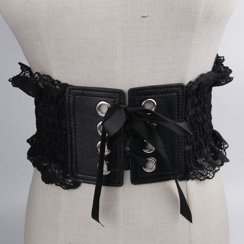 Gothic Cummerbunds Dress Accessories Belts Bandage Lace PU Black Women Fashion Strap Slim Super Wide Waistbands Goth Cummerbund