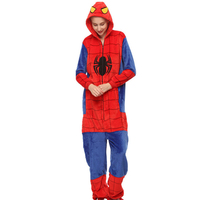 Styles All One Flannel Anime Pijama Cartoon Cosplay Warm Sleepwear Hooded Homewear Women Cute Adult Spiderman