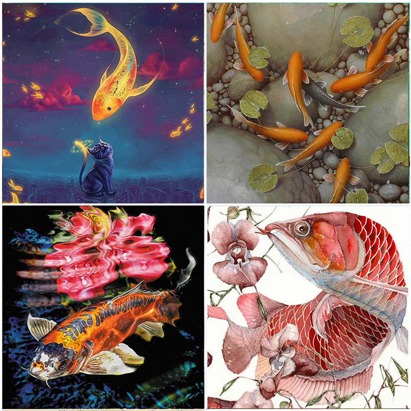 Lucky Koi Fish 5D Diamond Painting Embroidery Mosaic Animals Full Square Drill Crystal Home Room Decorations Cross Stitch Kits