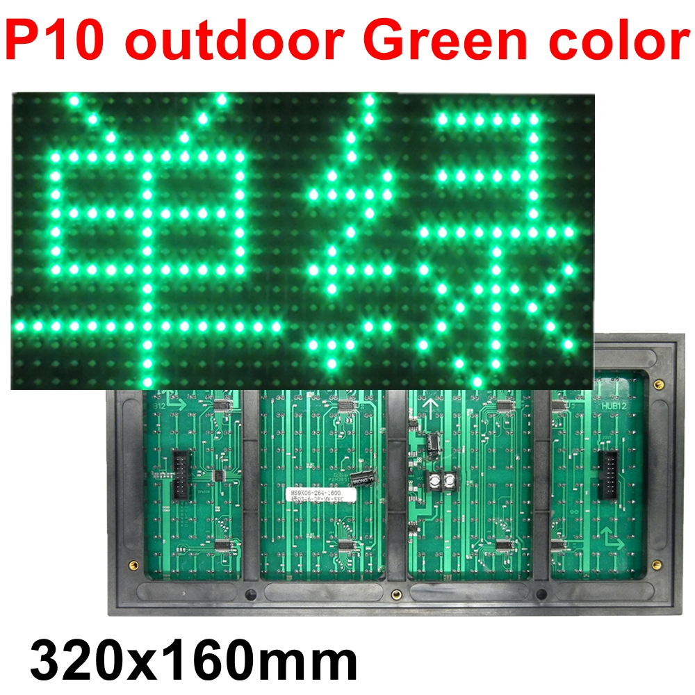 Outdoor P10 Green Color LED Text Display module waterproof High Brightness DIP 320*160mm for led lintel Shop Advertising screen image