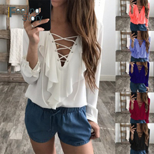 9cf091c917a Womens Sexy Plus Size Tops and Blouses Chiffon Lace Up V Neck Ruffle White  Blouse Women