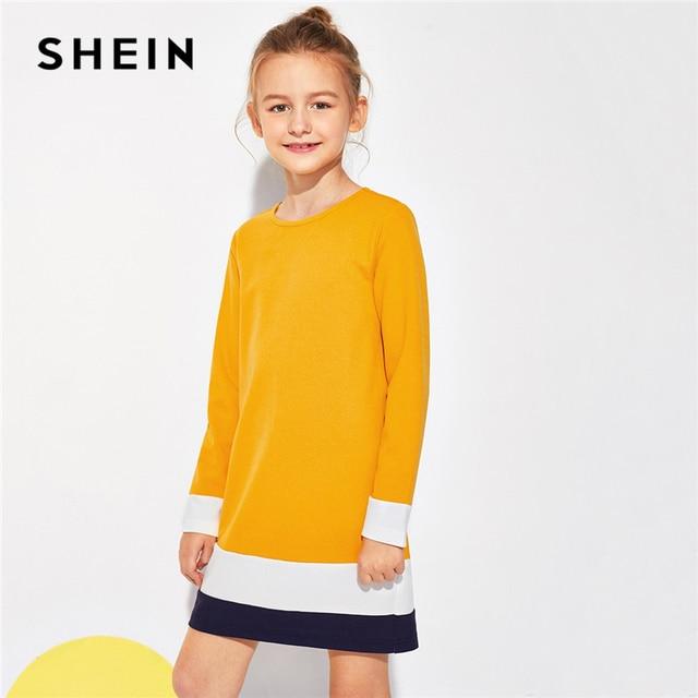 Шеин имбирь, цветная туника, мини-платье для девочек, вечерние платья, одежда для девочек, 2019, корейские модные повседневные Детские платья с длинными рукавами для девочек