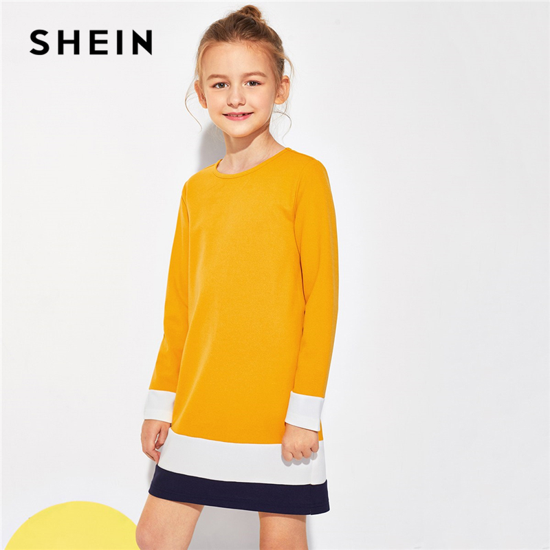 SHEIN Ginger Colorblock Tunic Mini Girl Party Dress Girls Clothing 2019 Korean Fashion Long Sleeve Casual Kids Dresses For Girls retro style v neck long sleeve ethnic print self tie belt dress for women