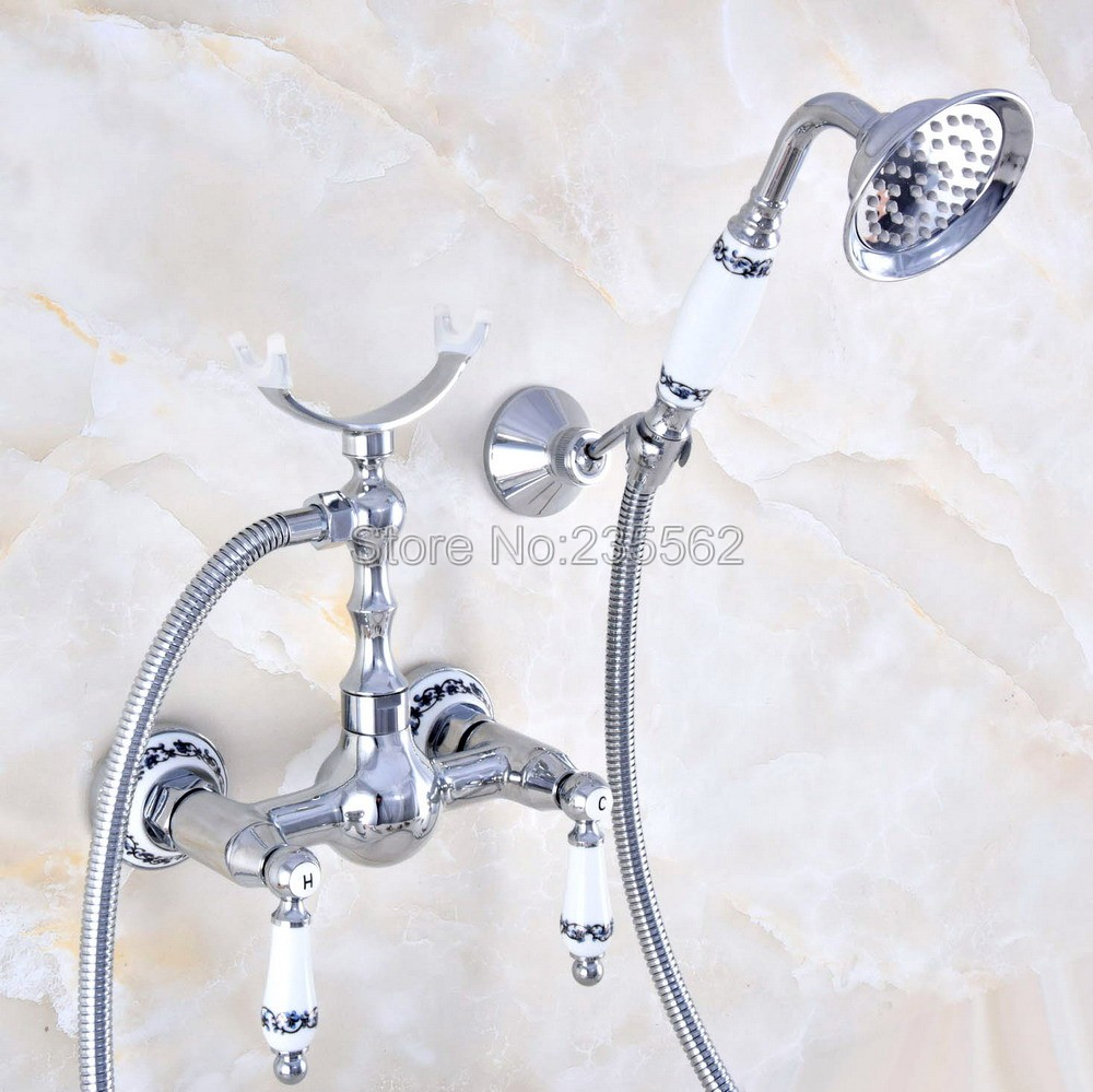 Chrome Bathroom Bath Wall Mounted Hand Held Shower Head Kit Shower Faucet Sets lna739