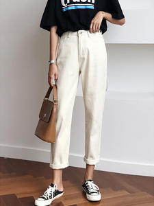 Wide-Jeans Pants Harem Loose White High-Waist Straight Cotton Women Ladies with Denim
