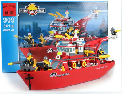 купить building block set compatible with lego city fire-fighting ship 3D Construction Brick Educational Hobbies Toys for Kids недорого