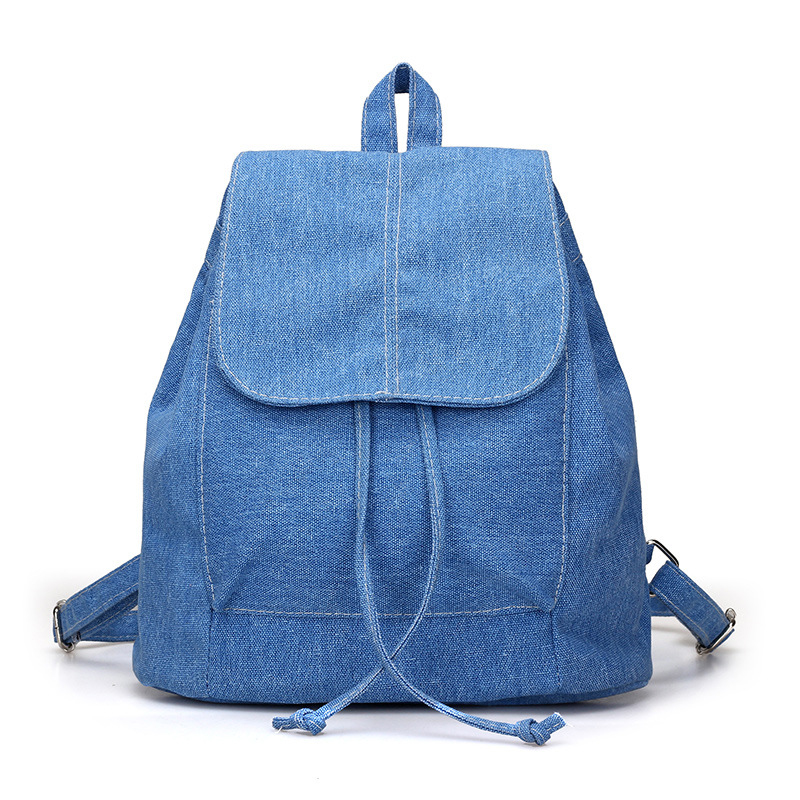 New Canvas Women Backpack Drawstring School Bags For Teenagers Girls Small Backpack Female Rucksack(Blue)New Canvas Women Backpack Drawstring School Bags For Teenagers Girls Small Backpack Female Rucksack(Blue)