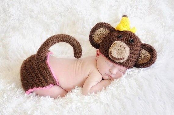 Neugeborenen Häkeln Baby Kostüm Fotografie Requisiten Stricken Babymütze Cartoon Affe Baby Foto Requisiten Baby Jungen Oder Mädchen Outfits In