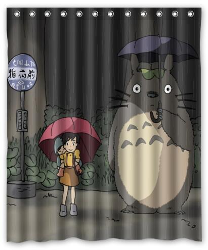 Custom My Neighbor Totoro Shower Curtain Kids Cartoon Curtains For Bath Waterproof Bathroom Decoration