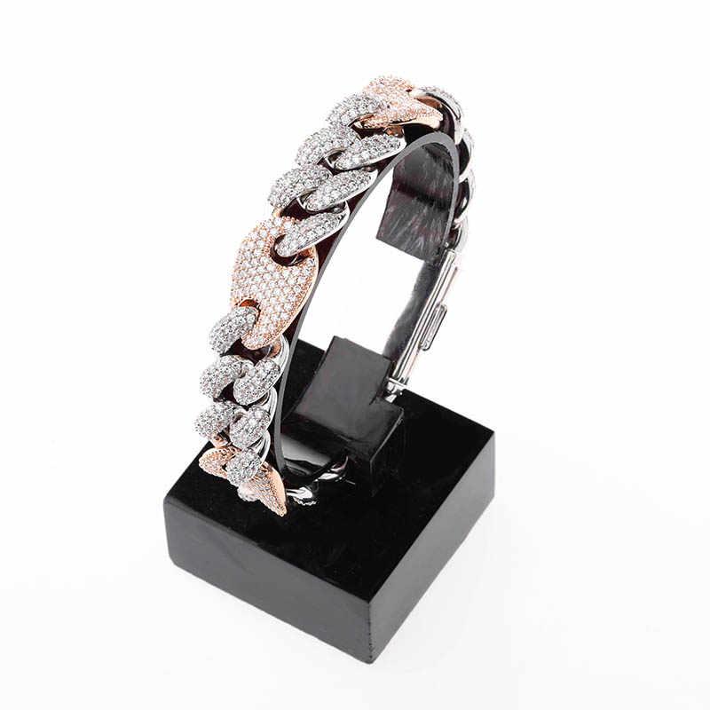 TOPGRILLZ 16mm Iced Out kubański bransoletki łańcuch Hip hop biżuteria złoto srebro AAA CZ duży plac bransoletka z zapięciem dla mężczyzn raper Link
