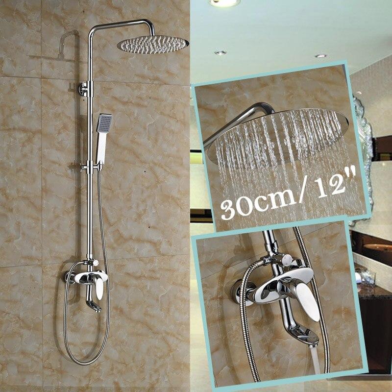 High Quality Cheapest Chrome Finish Wall Mounted 12 Rainfall Shower Head 30cm Bathroom Faucet