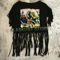 Women Tassel Crop Top Heavy Metal Rock T Shirts 2017 New Fashion Summer Style Sleeveless Sexy