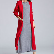 2017 spring and winter new Korean women accommodative long cardigan sweater thick sweater coat authentic free shipping