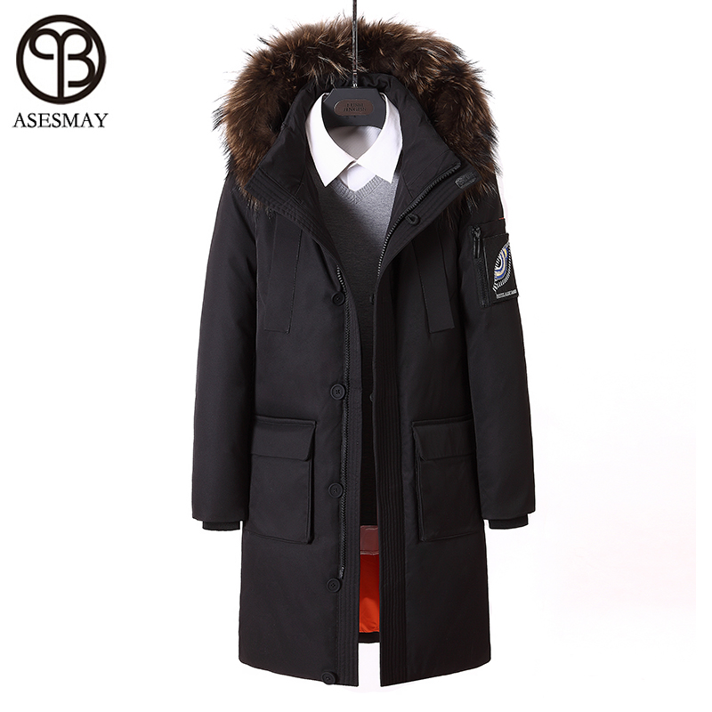 Asesmay 2017 High Quality Brand Winter Jacket Men White Duck   Down     Coat   Long Mens   Down   jackets Thickening Parka Hood Real Fur