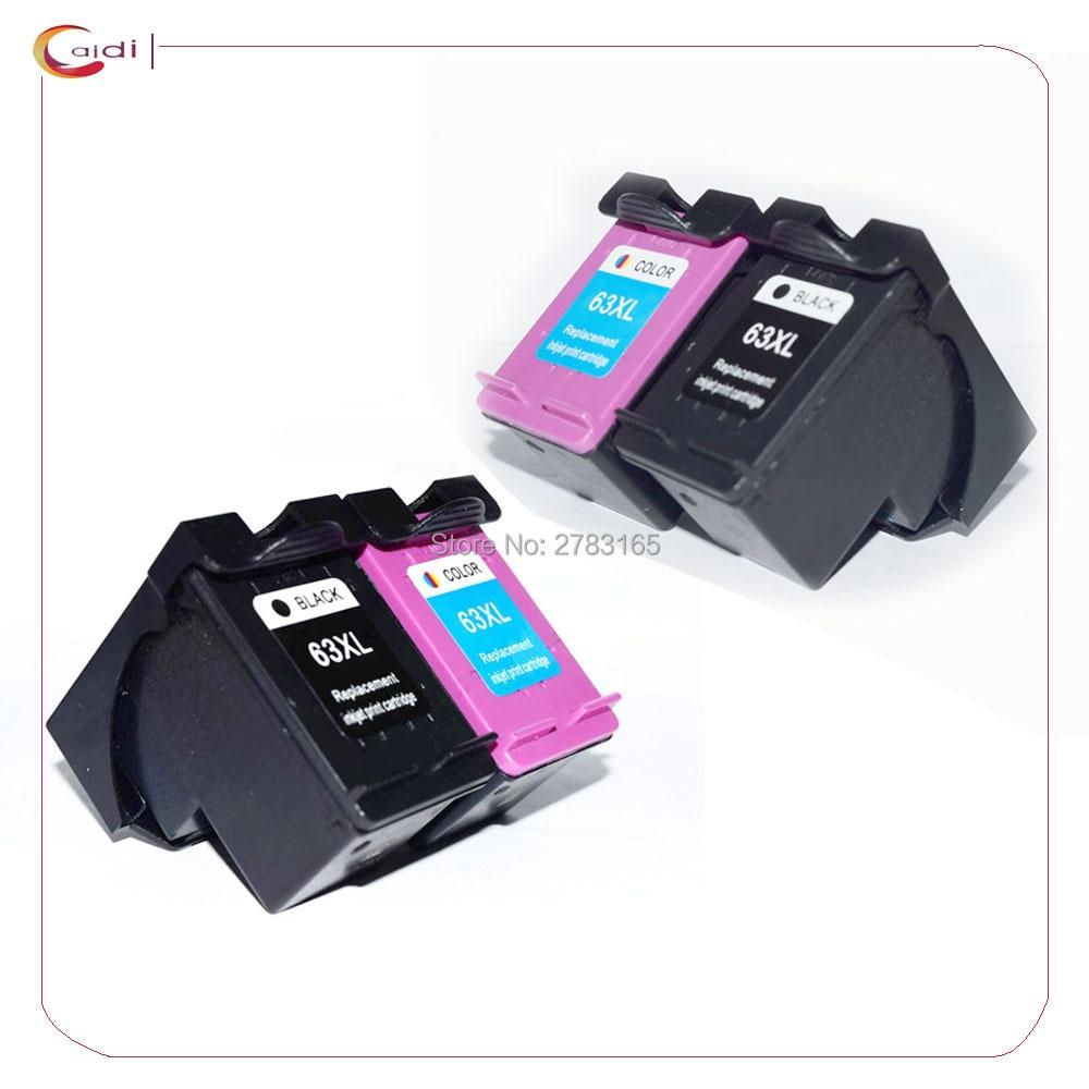 4 Pack Compatible HP63 hp 63XL hp DESKJET 3630 3632 Officejet 4652 4655  ENVY 4522 printer ink cartridge HP 63 XL
