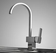 Хром Латунь Сплюснутый Носик Поворотный Одной Ручкой Кухонный Кран Робине Torneiras Водопроводной Воды Кухне Смеситель