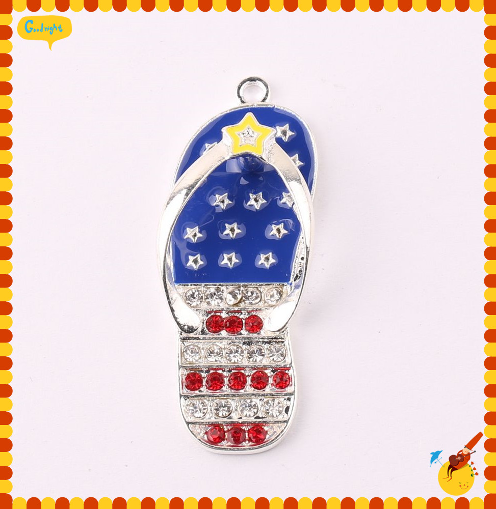 New America flag color 48 18mm 10pcs lot Silver zinc alloy Rhinestone star Slipper Pendant For