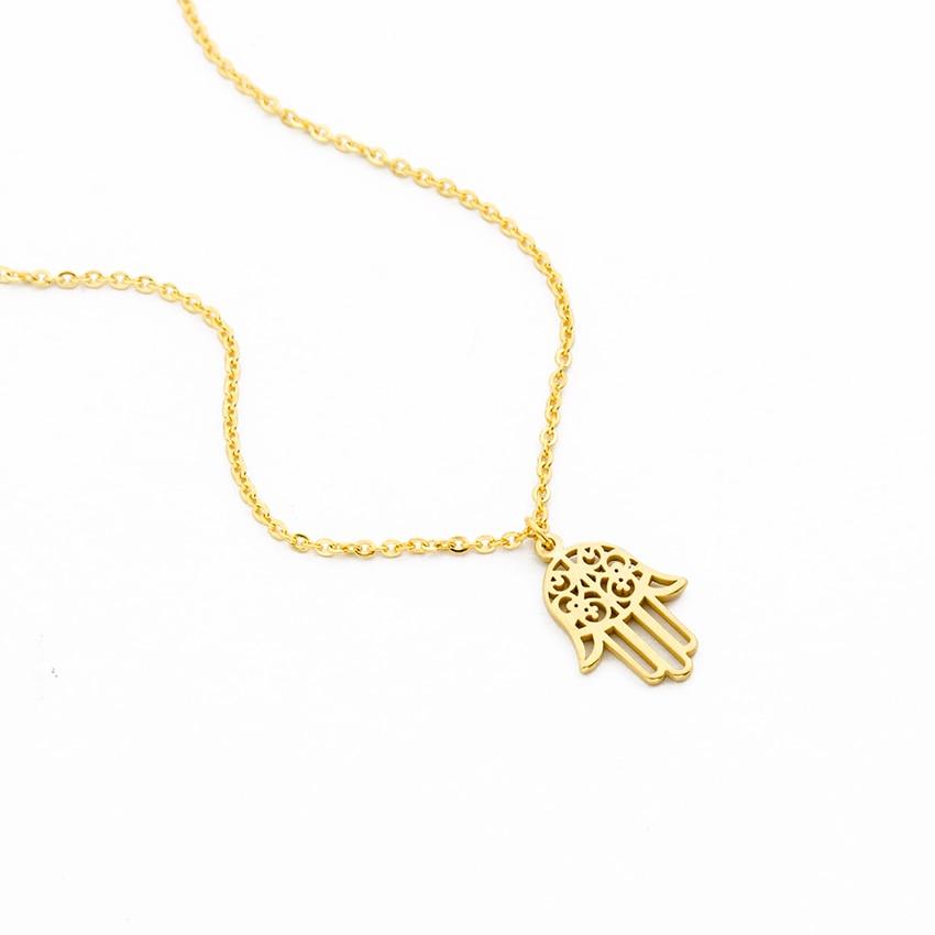 ACEBFEET zaščita Fatima Hand Evil Eye Eye obesek ogrlica za ženske - Modni nakit - Fotografija 4