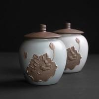Retro stil keramik tee kanister in die kleine keramik abdichtung kanister pu 'er rot grün tee feuchtigkeit beweis kanister-in Teedosen aus Heim und Garten bei