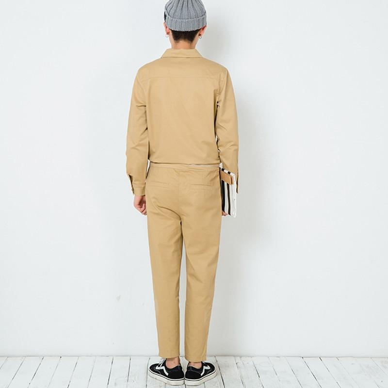 Winter Mens Jumpsuits Korean style singer costumes Men hip hop dancing jumpsuit Khaki Military Cargo Bib Overalls Pants 072504