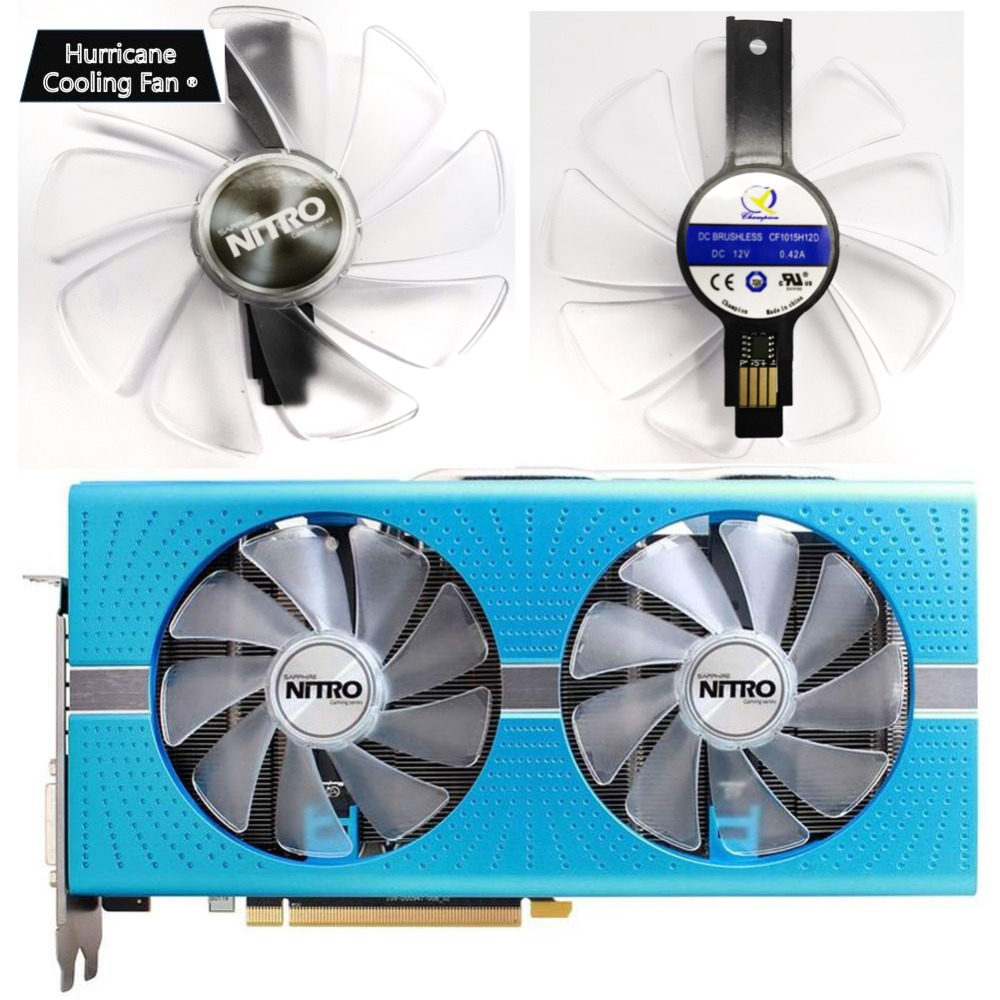 95mm CF1015H12D <font><b>Graphics</b></font> <font><b>Card</b></font> Blue Led Cooler Fan for Sapphire NITRO RX480 RX470 RX580 RX570 RX590 <font><b>RX</b></font> <font><b>470</b></font> 480 570 580 590 4G 8G image