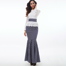 Party Lace Floral Autumn Vintage Women Polka Dot Dress Long Sleeve Floor-Length Ruffle Mermaid Ladies Elegant Prom Long Dresses floral lace insert polka dot dress