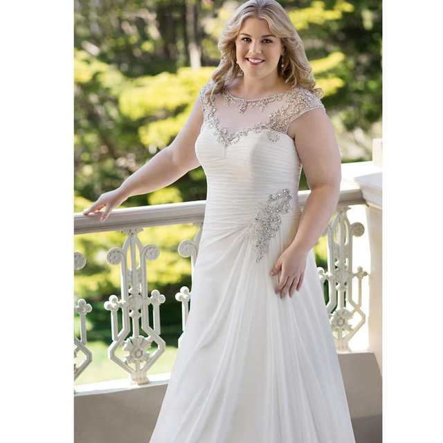 Country Western Cheap Chiffon Bridal Gowns Beaded Crystals Plus Size Modest  Custom made A Line Wedding Dresses 2016 With Ruffles