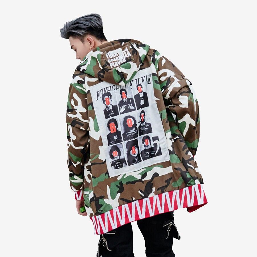 Windbreaker Hip Hop   Trench   Hooded Men Long   Trench   Coat Male Streetwear Camo Fashion Sweatshirt Jacket Long Man Loose Young F88