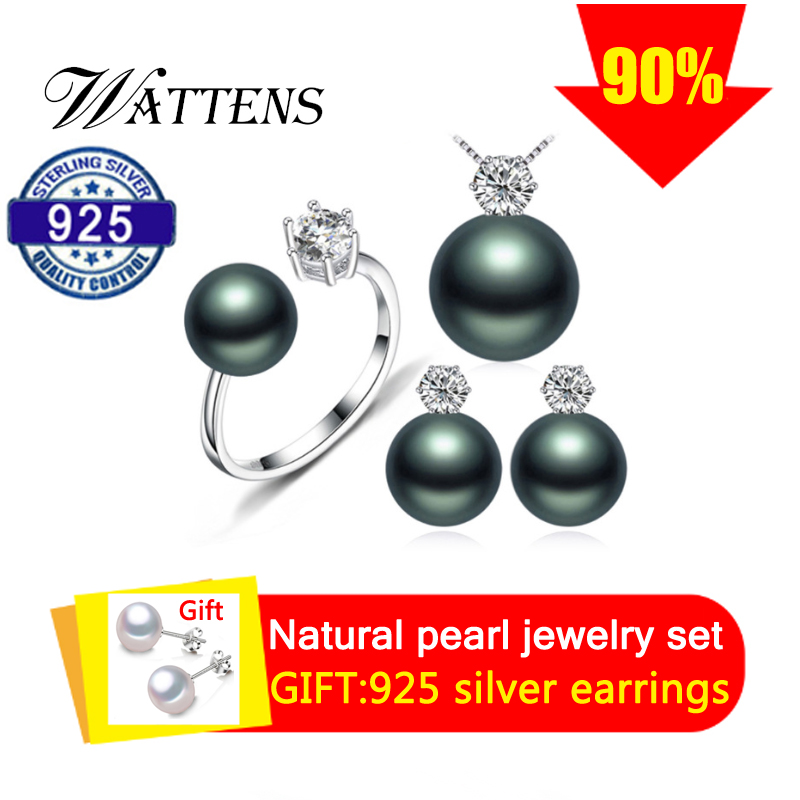 Orecchini di perle del Pendente della collana dell'anello per le donne D'acqua Dolce naturale nero dei monili della perla set 925 set di gioielli in argento regalo
