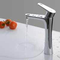 Deck Mounted Solid Brass Chrome Finish Single Handle Hot And Cold Bathroom Sink Faucet Mixer Tap